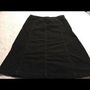 Croft&Barrow black a-line corduroy skirt